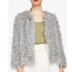 Zara Shaggy Fringe/Fur Jacket Pearl Grey Small